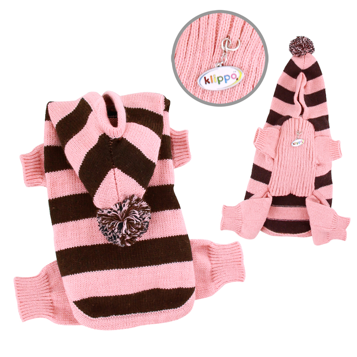 Stripy Dog Bodysuit with Long Hoodie by Klippo - Pink
