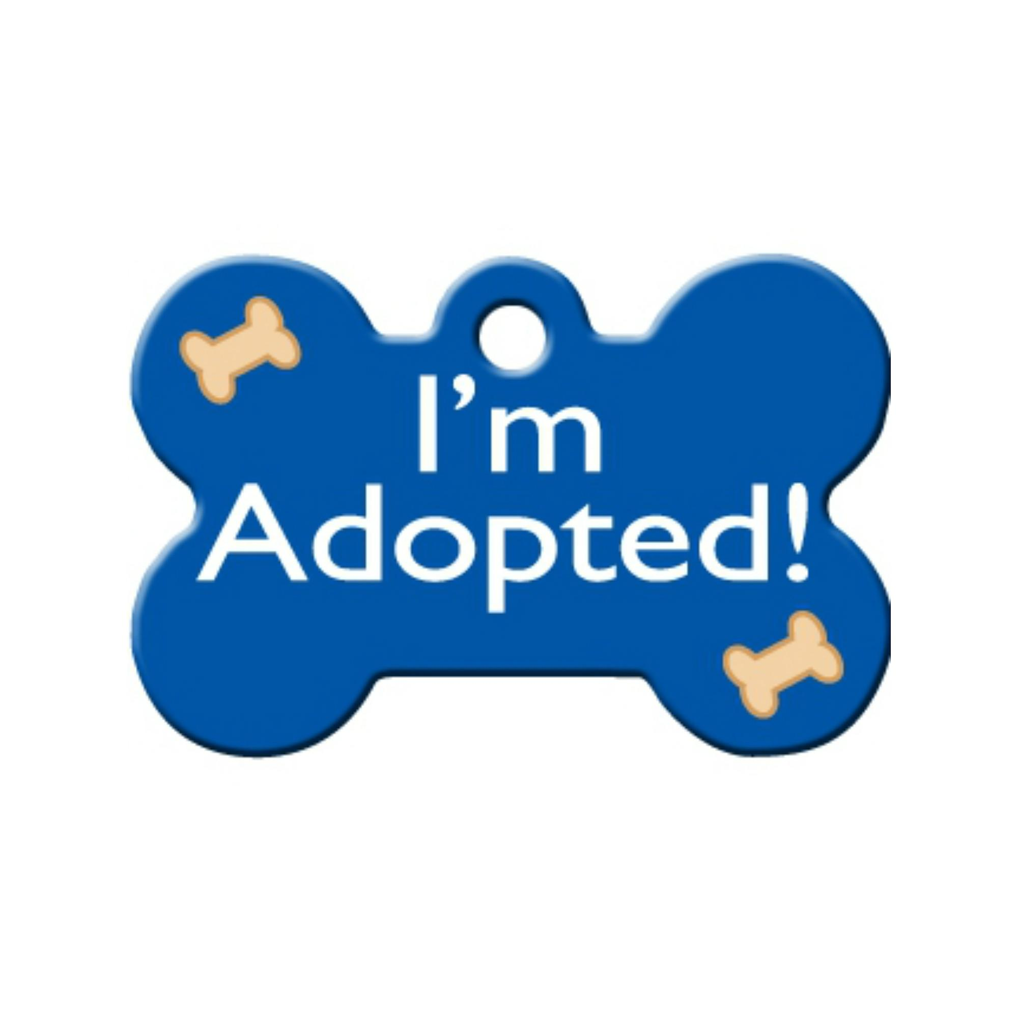 I'm Adopted Bone Large Engravable Pet I.D. Tag - Blue