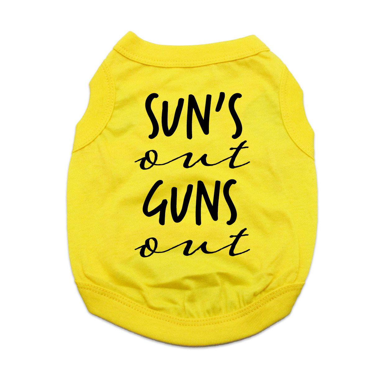 Sun's Out Guns Out Dog Shirt - Yellow