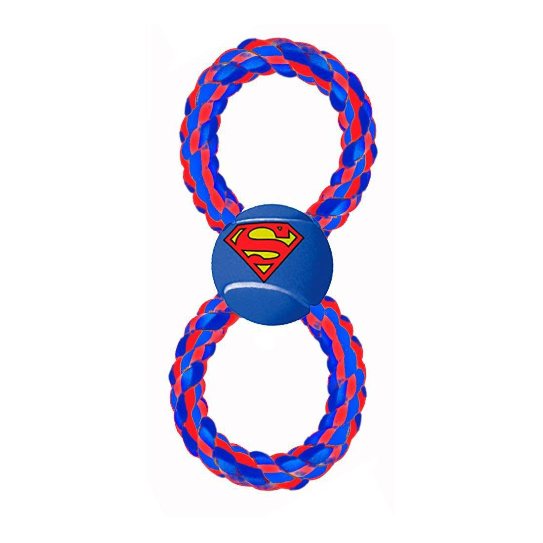 Superman Rope Tennis Ball Dog Toy by Buckle-Down - Red/Blue
