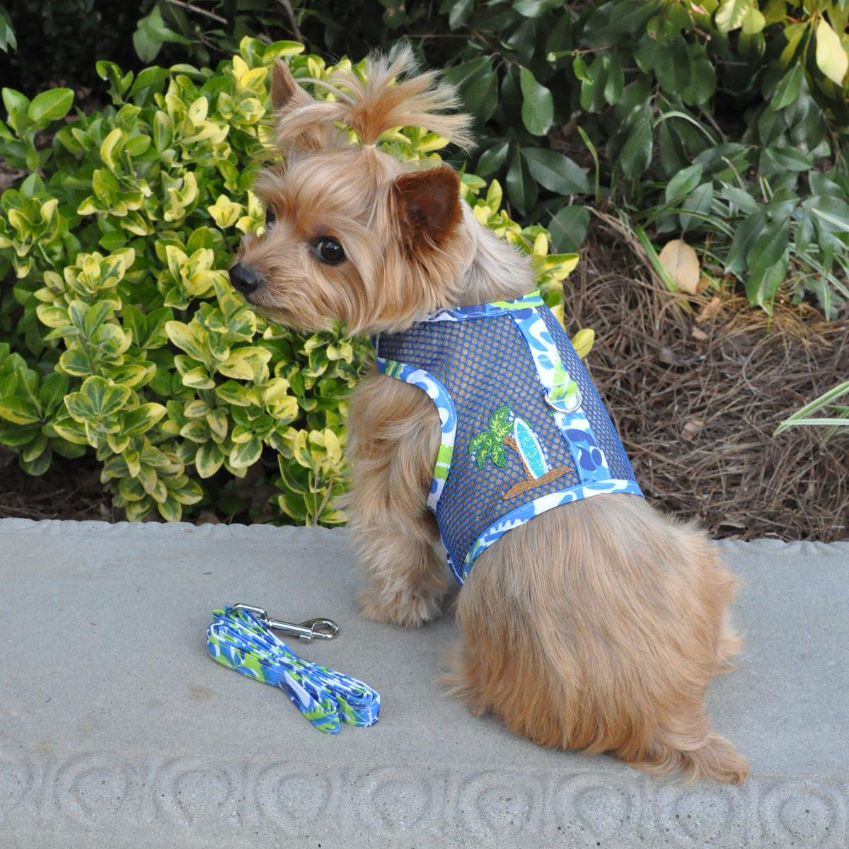 Surfboard Blue and Green Cool Mesh Dog Harness with Matching Leash by Doggie Design