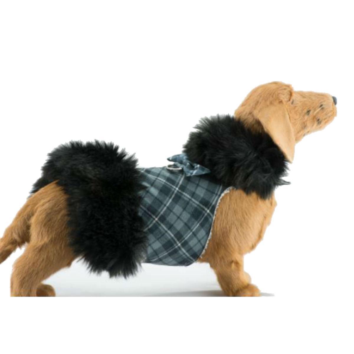 Susan Lanci Scotty Plaid Fur Dog Coat - Charcoal with Black Fox