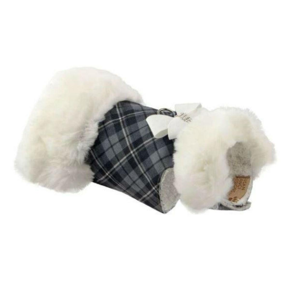 Susan Lanci Scotty Plaid Fur Dog Coat - Charcoal with White Bow and Fox