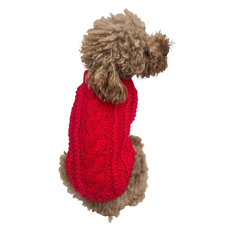 Irish Isle Handknit Mock Turtleneck Dog Sweater - Red
