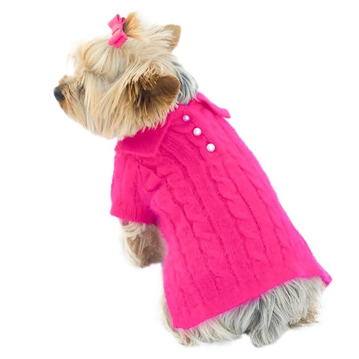 Luxury Preppy Polo Cable Knit Dog Sweater - Fuchsia