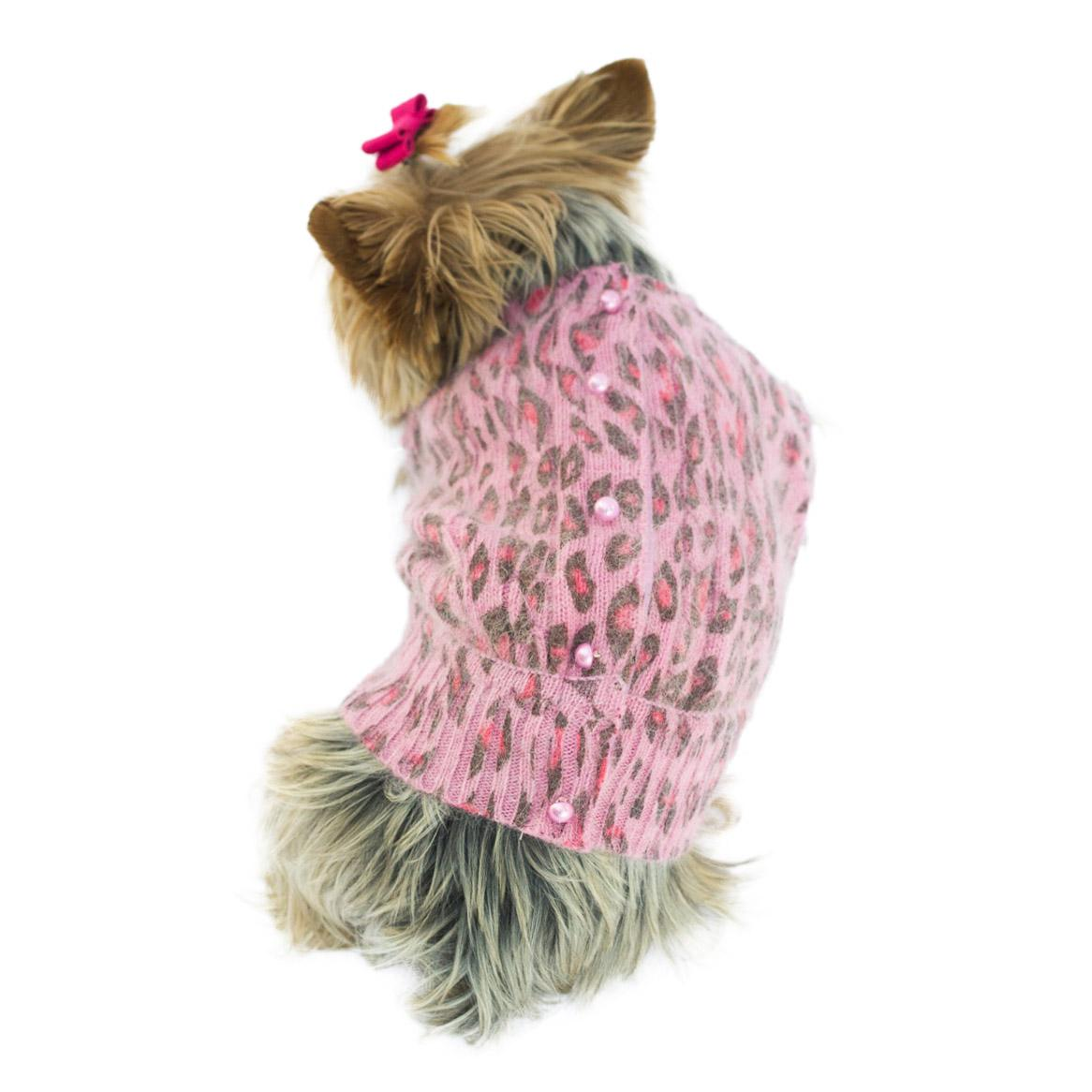 Marilyn Button Back Cardigan Dog Sweater - Pink Leopard