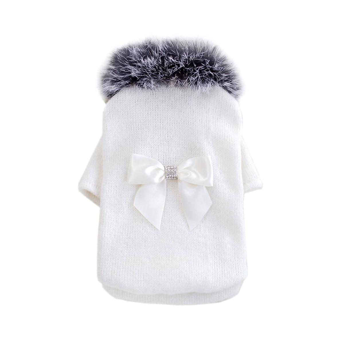 High Society Dog Sweater by Hello Doggie - White