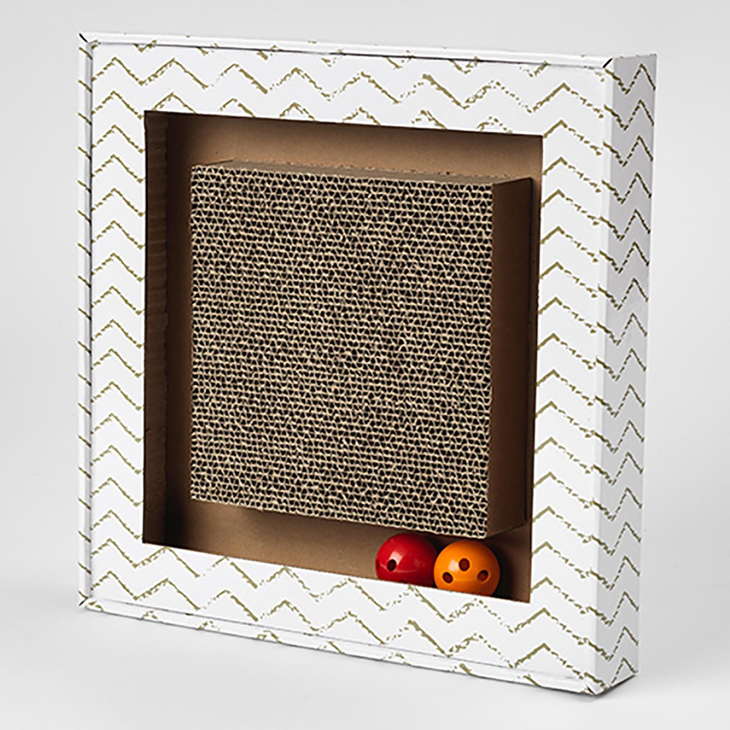 Sylvester's Interactive Cat Scratcher - Square Chevron White and Gray