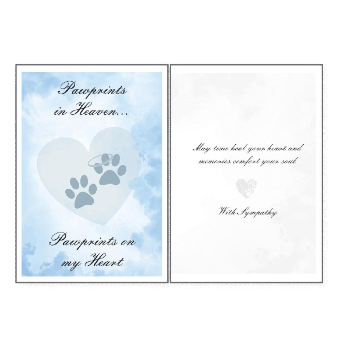 Sympathy Greeting Card by Dog Speak - Paw Prints in Heaven