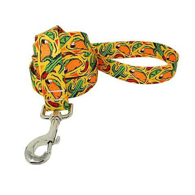 Taco Fiesta Dog Leash by Yellow Dog - Yellow