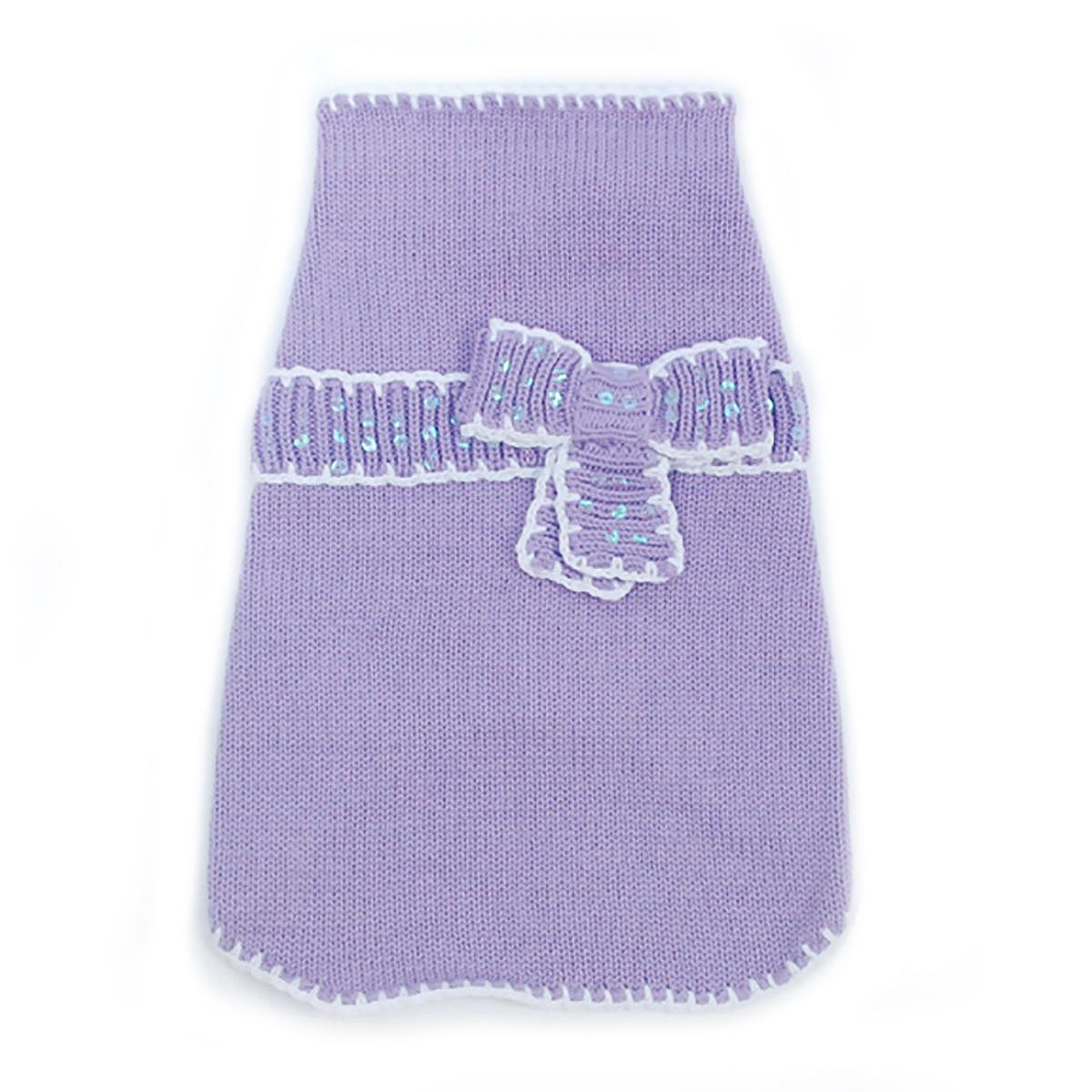Take A Bow Dog Sweater by Oscar Newman - Violet