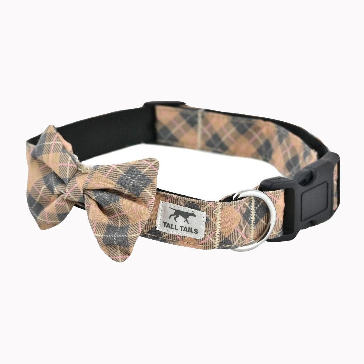 Tall Tails Bowtie Dog Collar - Tan Plaid