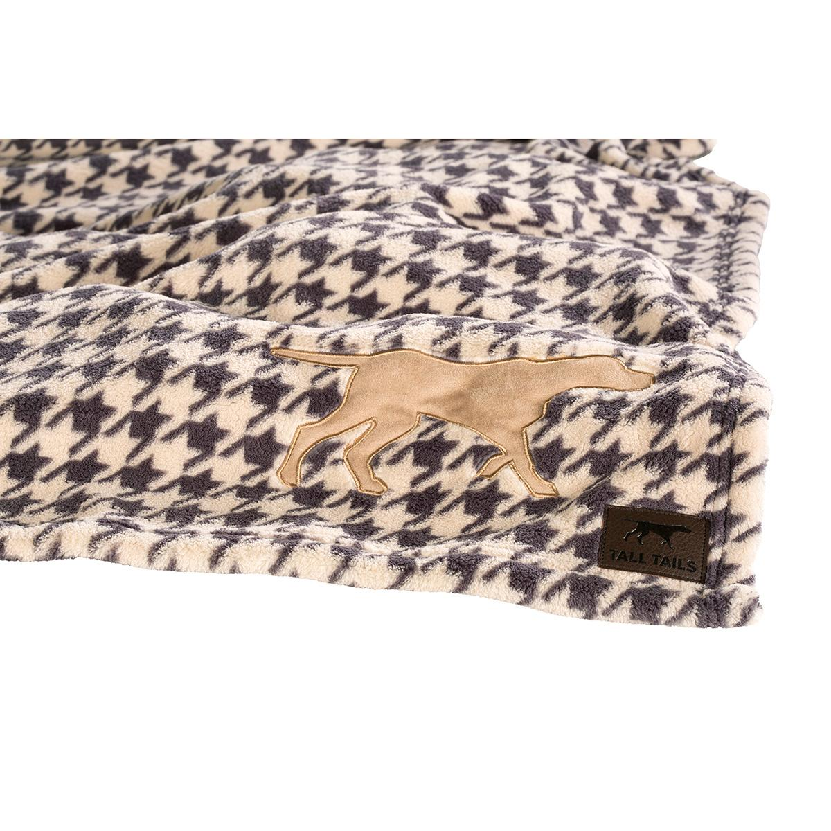 Tall Tails Houndstooth Fleece Dog Blanket with Dog Applique