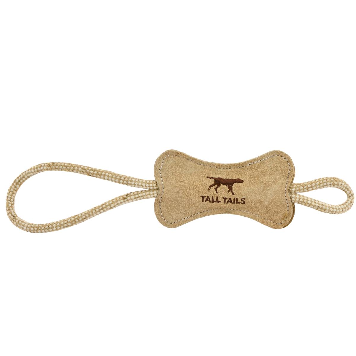 Tall Tails Natural Leather Bone Tug Dog Toy
