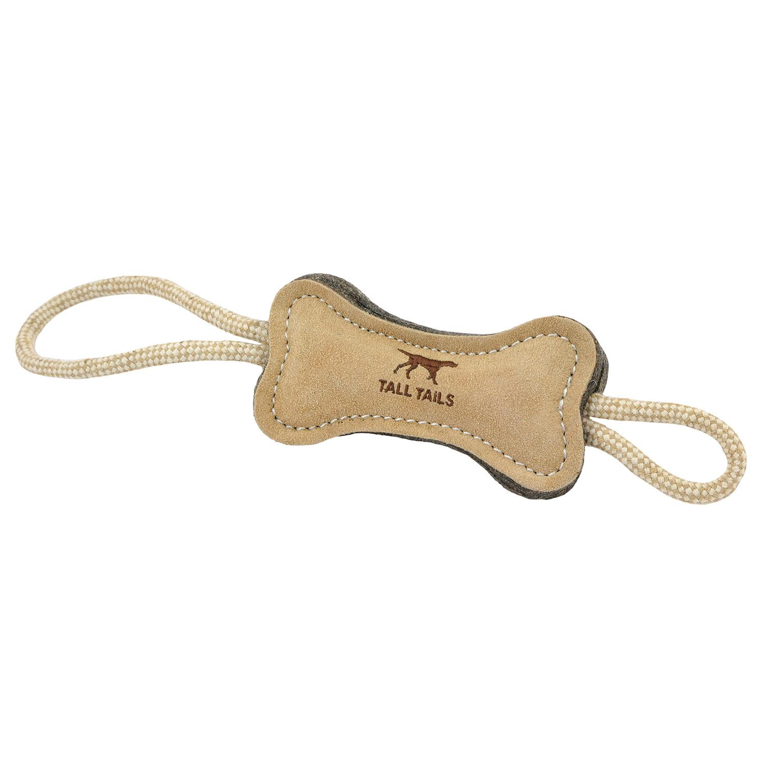 Tall Tails Natural Leather and Wool Bone Tug Dog Toy