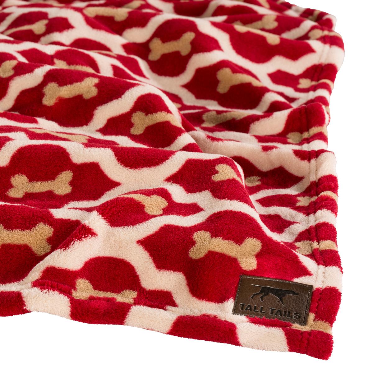 Tall Tails Red Bone Fleece Dog Blanket