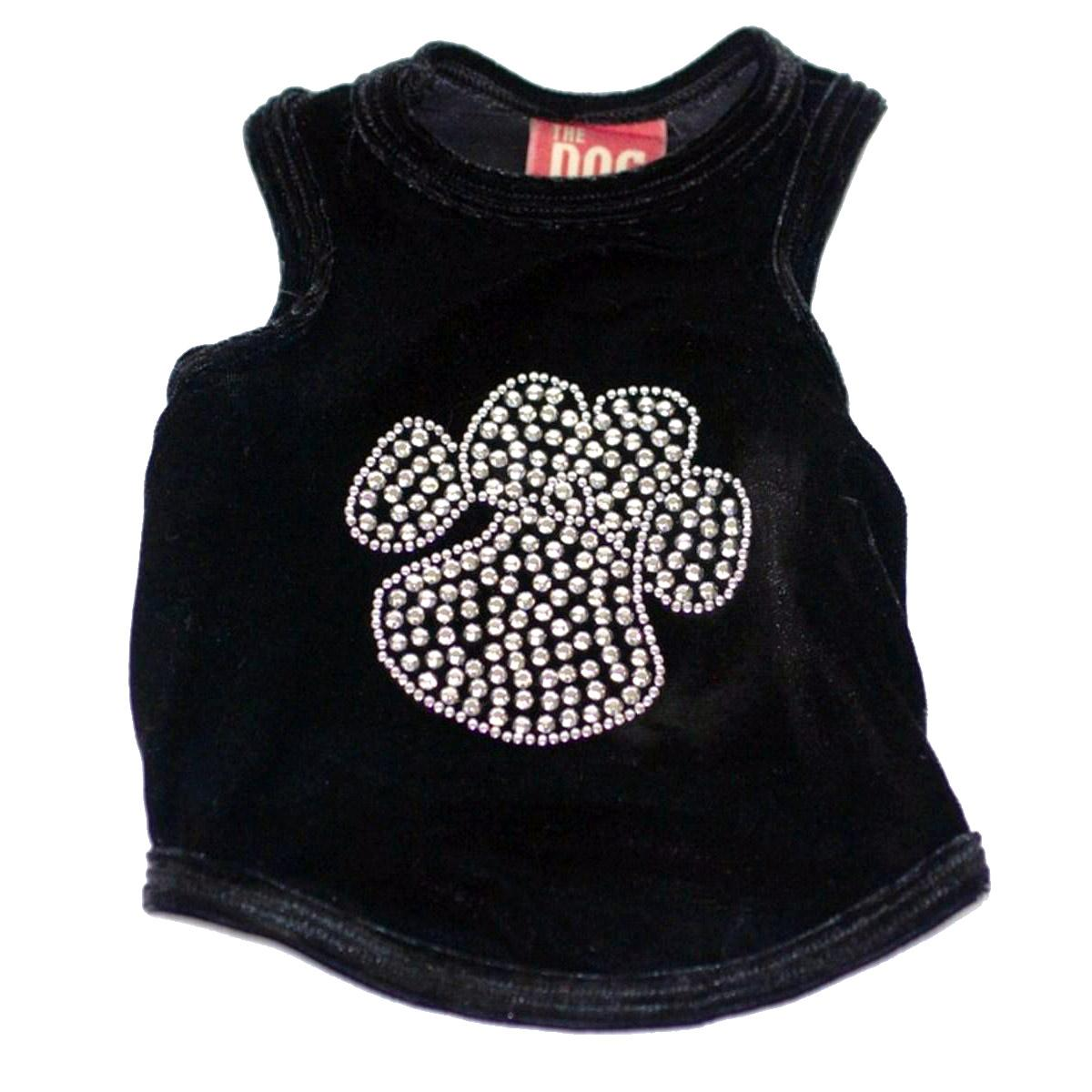 Black Velvet Studded Paw Dog Tank