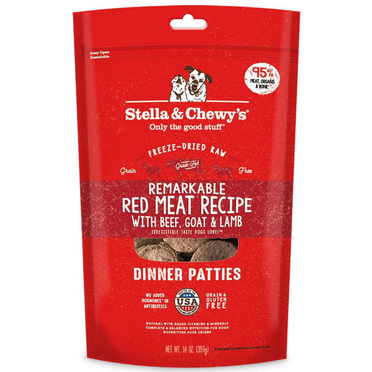 Stella & Chewy's Remarkable Red Meat Recipe Dinner Patties Dog Treat - Freeze Dried