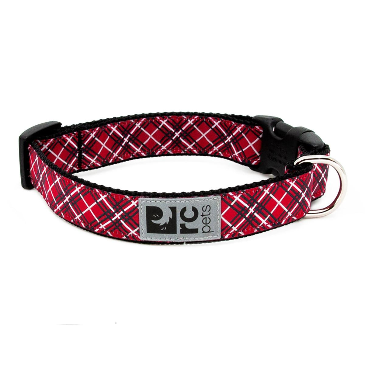 Tartan Adjustable Clip Dog Collar by RC Pet - Red
