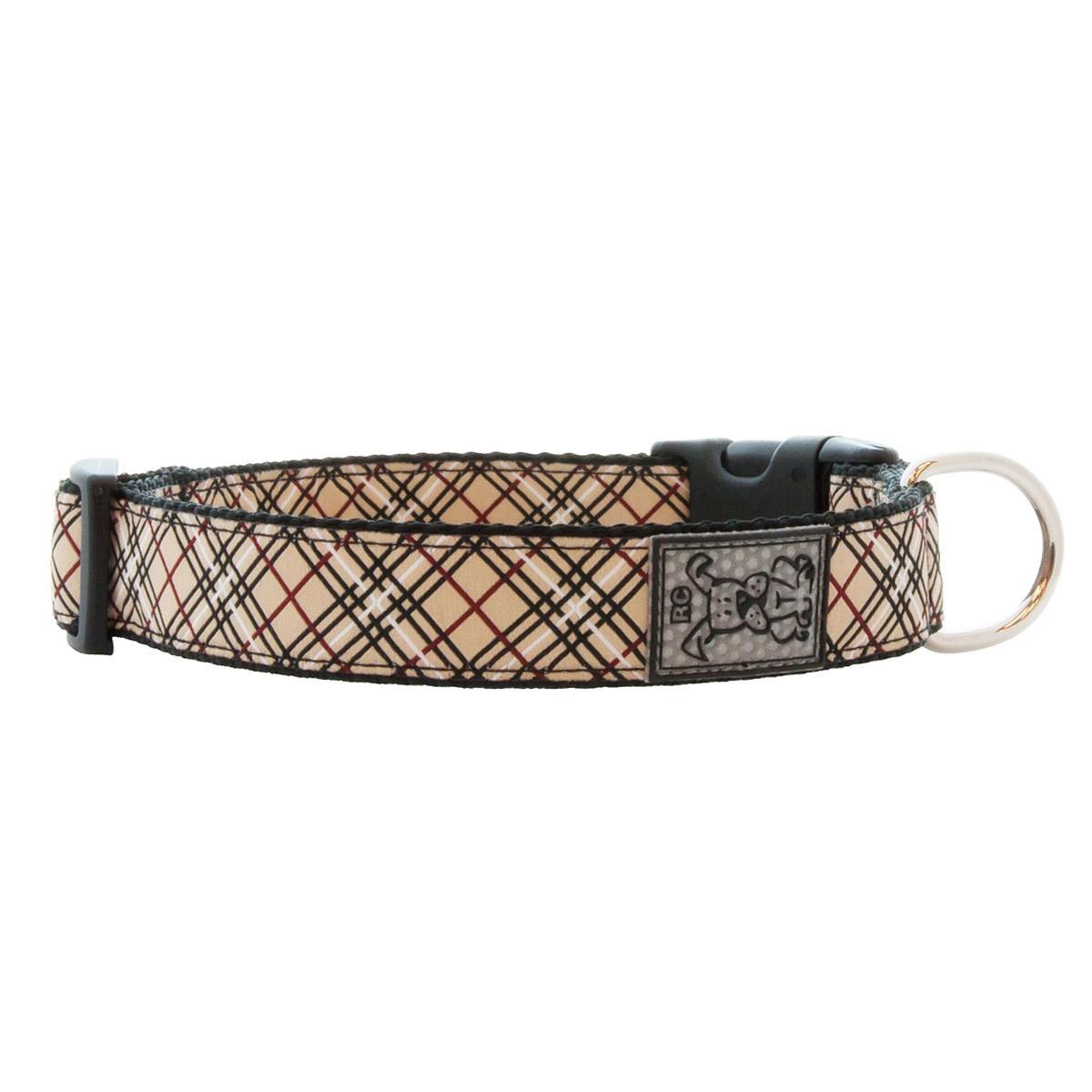 Tartan Adjustable Clip Dog Collar by RC Pet - Tan
