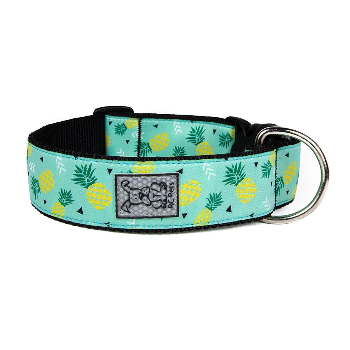 Pineapple Parade Wide Clip Adjustable Dog Collar