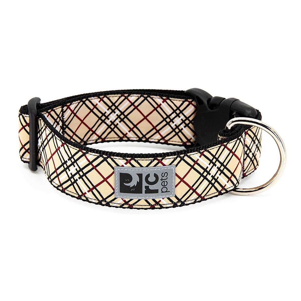 Tartan Wide Clip Adjustable Dog Collar - Tan