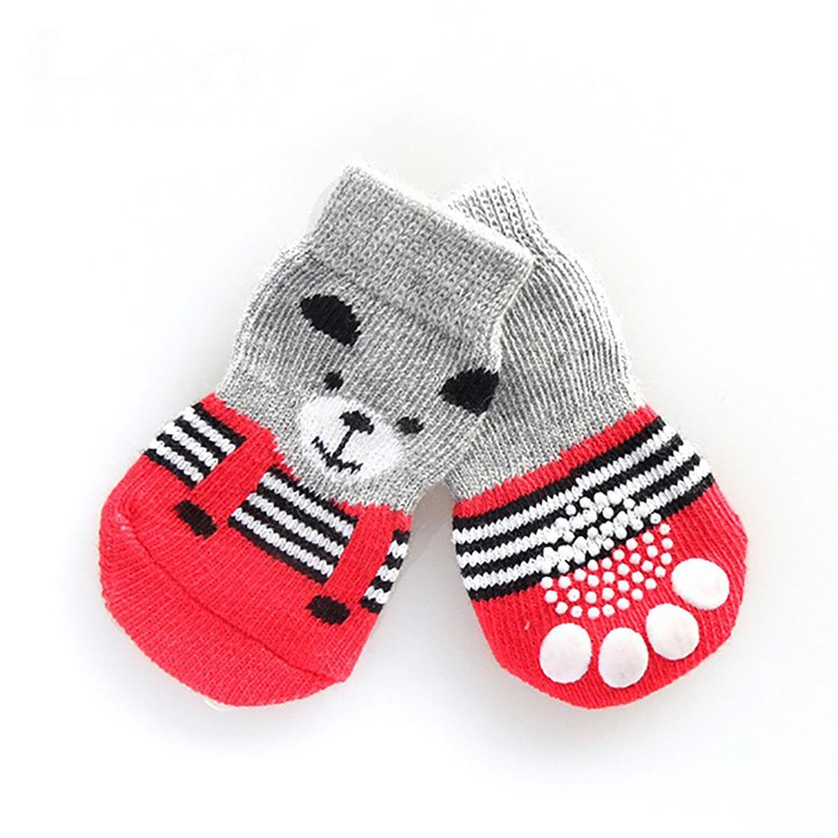 Teddy Bear Dog Socks - Red