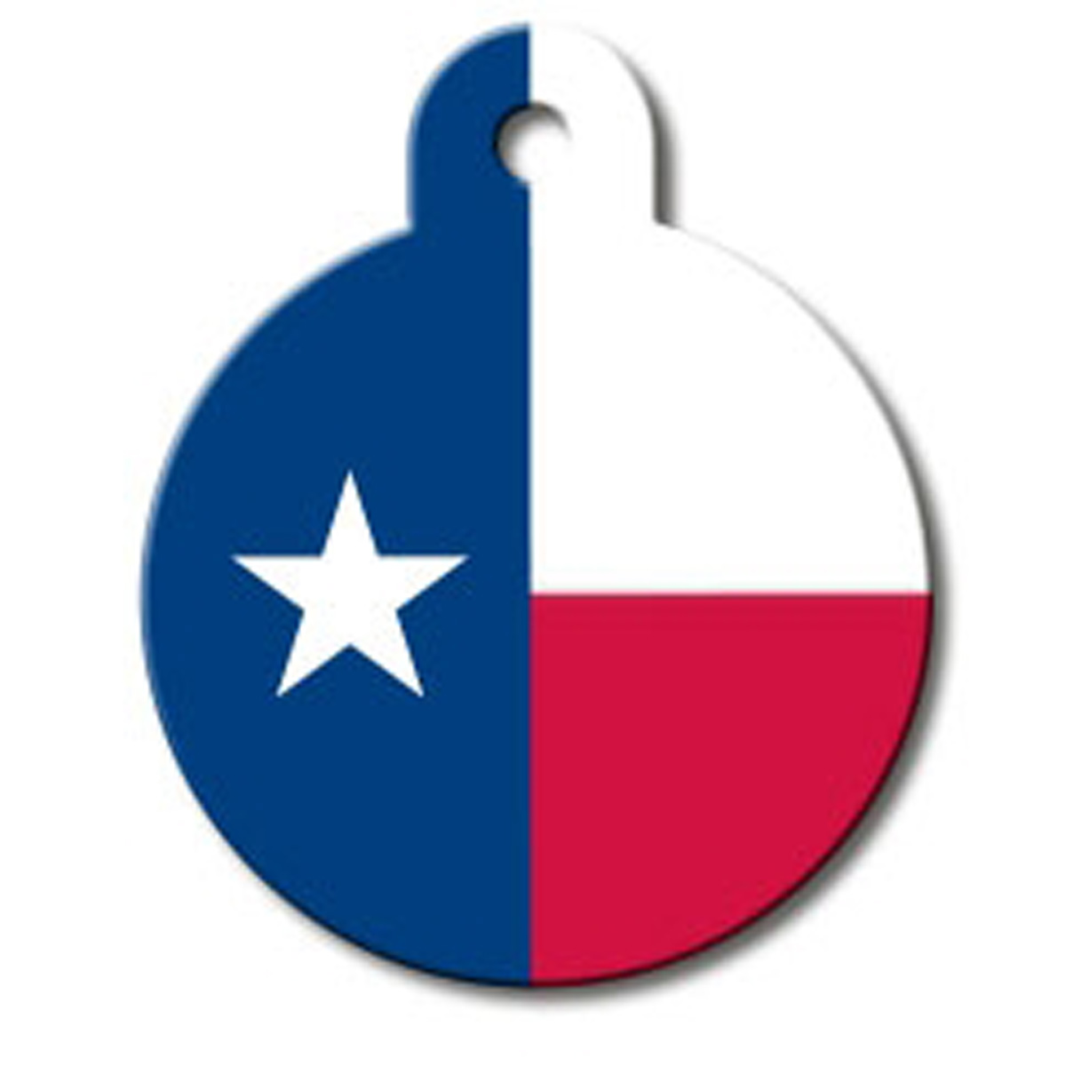 Texas Flag Engravable Pet I.D. Tag - Large Circle