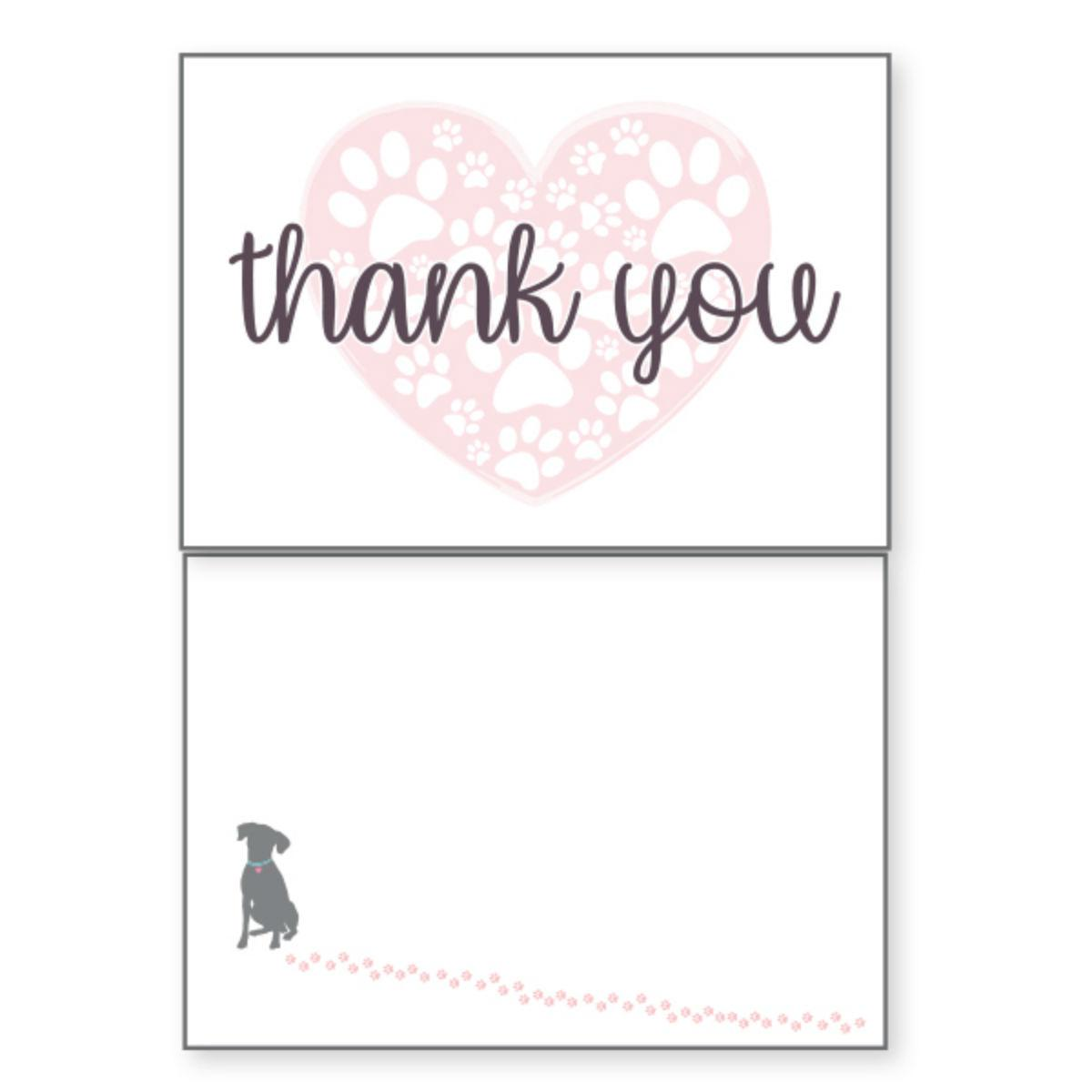 Thank You Greeting Card by Dog Speak - Paw Prints in Heart