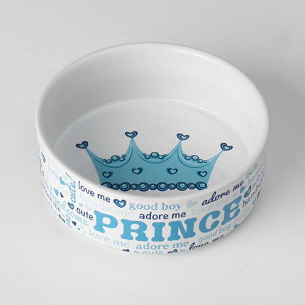 Theo S Prince Pet Food Bowl White Blue Baxterboo