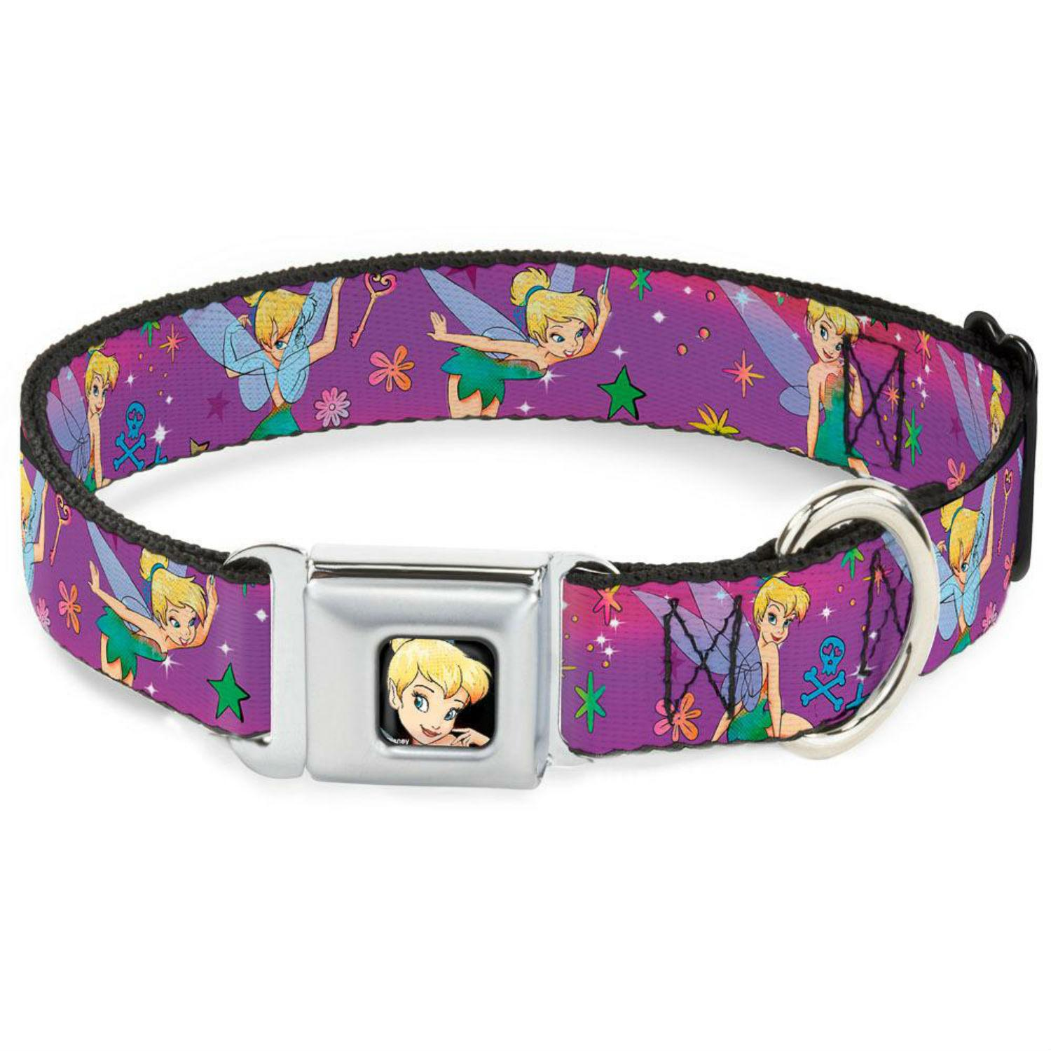 Tinkerbell Flower and Stars Seatbelt Buckle Dog Collar by Buckle-Down - Purple