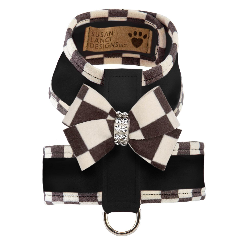 Tinkie Dog Harness with Windsor Nouveau Bow & Trim by Susan Lanci - Black