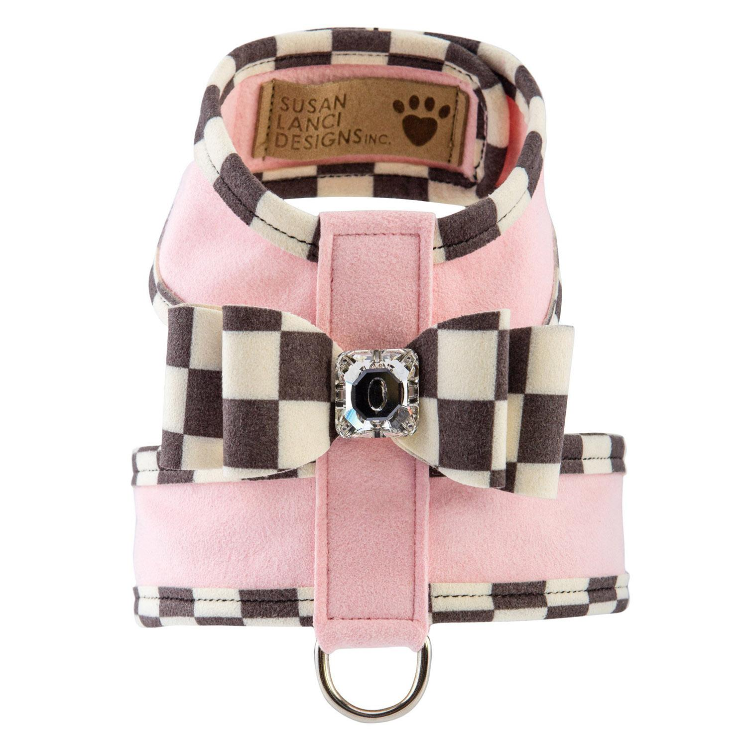 Tinkie Dog Harness with Windsor Big Bow & Trim by Susan Lanci - Puppy Pink