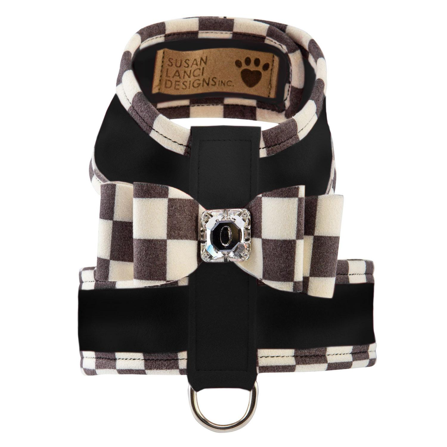 Tinkie Dog Harness with Windsor Big Bow & Trim by Susan Lanci - Black