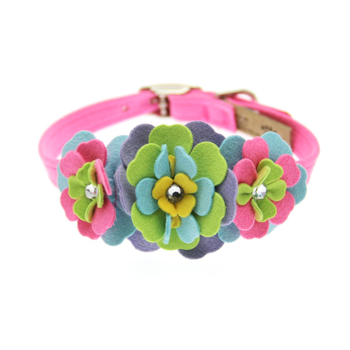 Tinkie Fantasy Flower Dog Collar by Susan Lanci - Perfect Pink