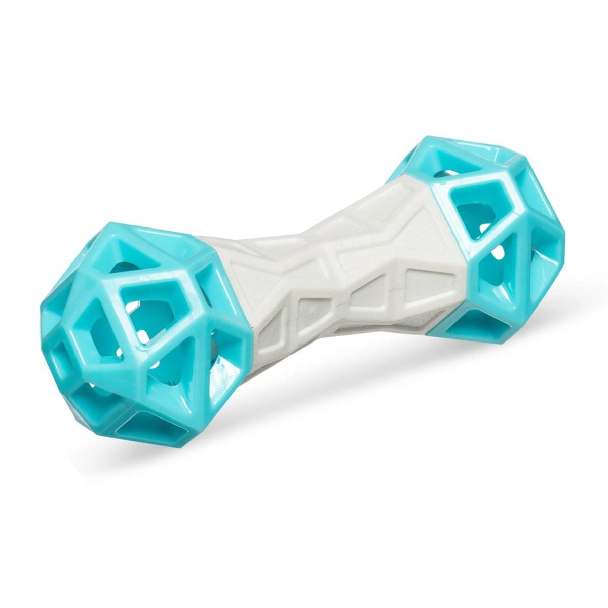 Totally Pooched Flex n' Squeak Foam Rubber Barbell Dog Toy - Grey/Teal