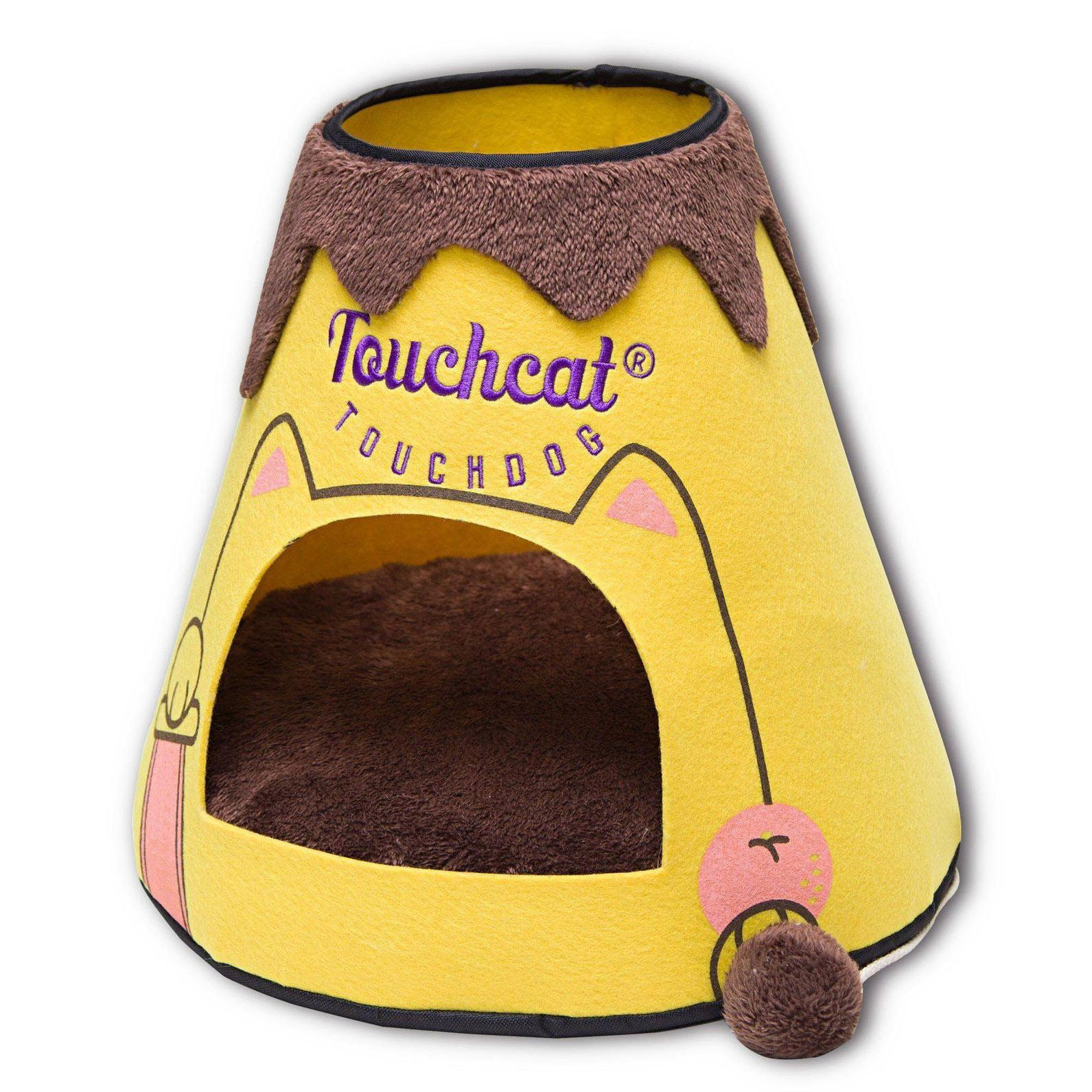 Touchcat 'Molten Lava'  Designer Cat Bed House with Teaser Toy - Yellow