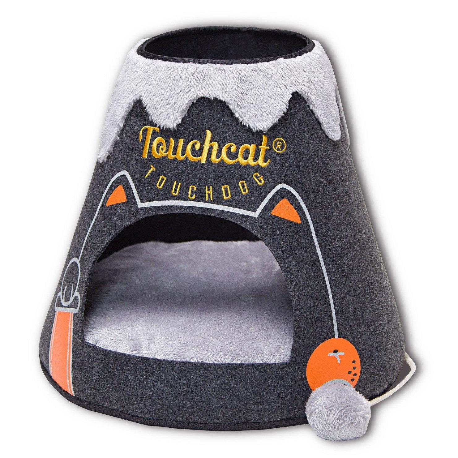 Touchcat 'Molten Lava'  Designer Cat Bed House with Teaser Toy - Charcoal
