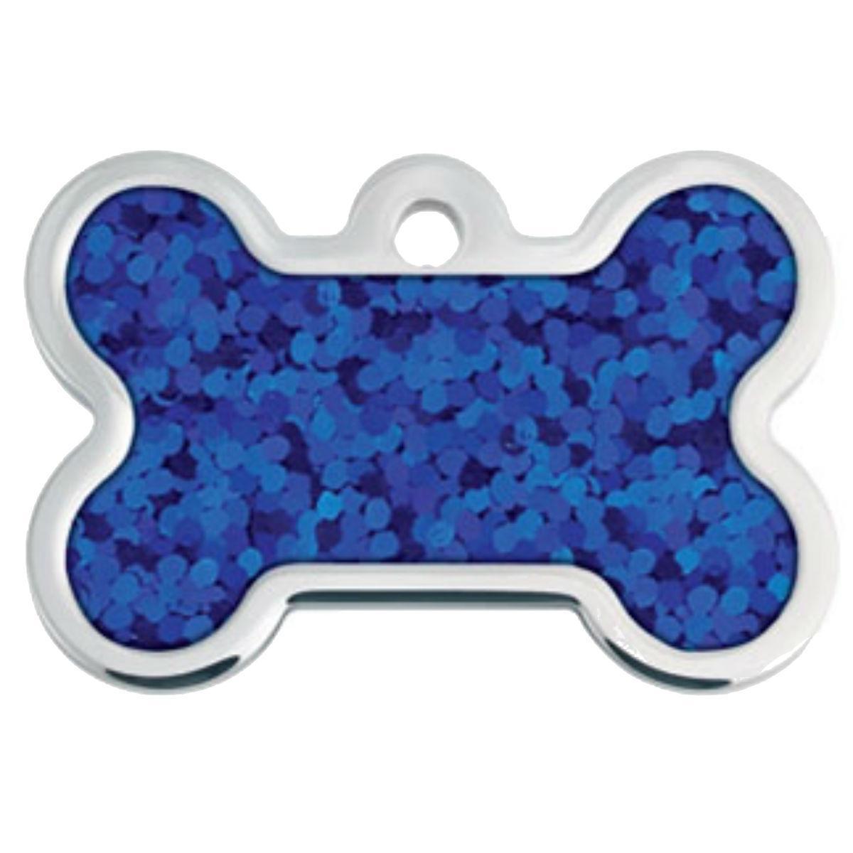 Hologram Bone Large Engravable Pet I.D. Tag - Blue
