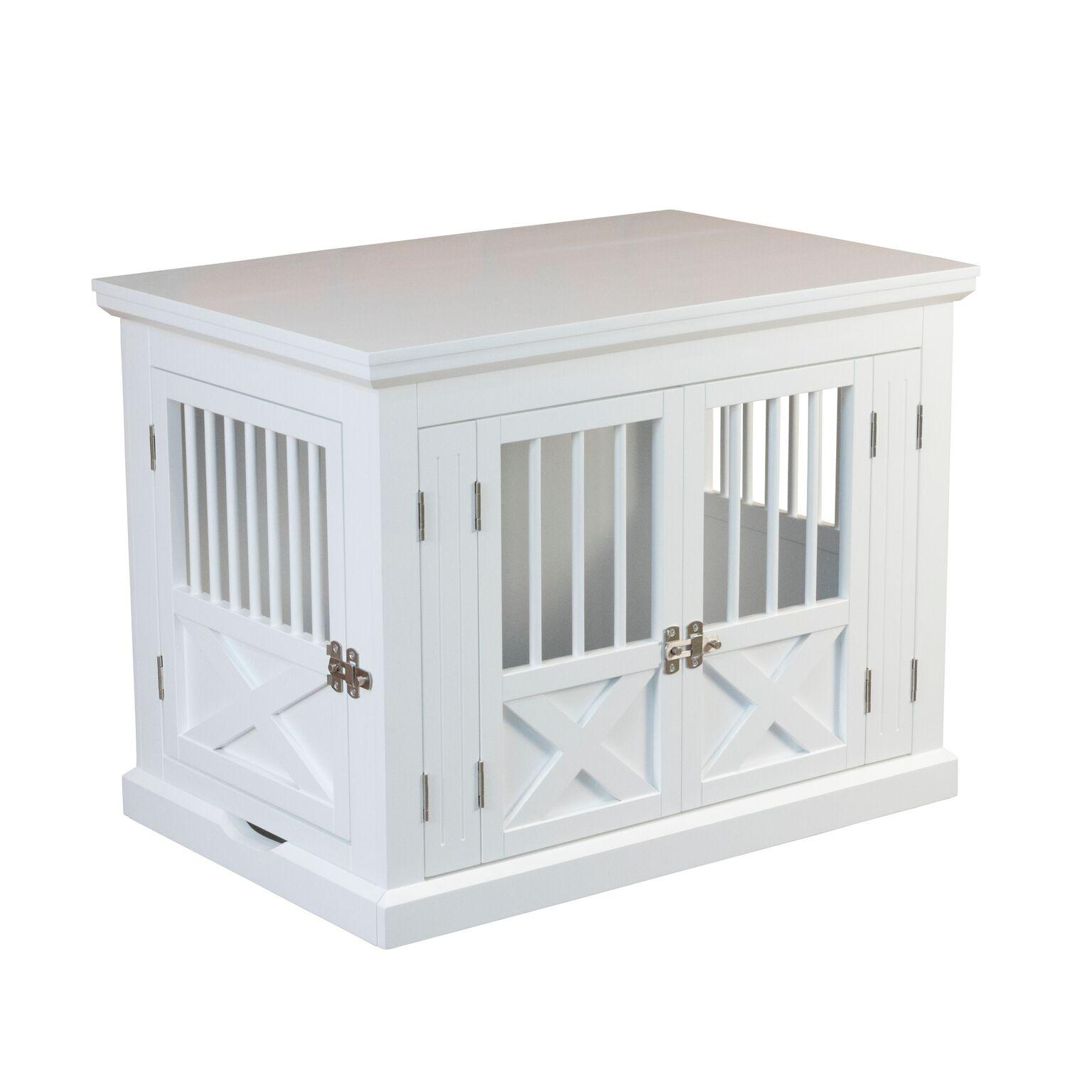 Merry Products Triple Door End Table Dog Crate - White