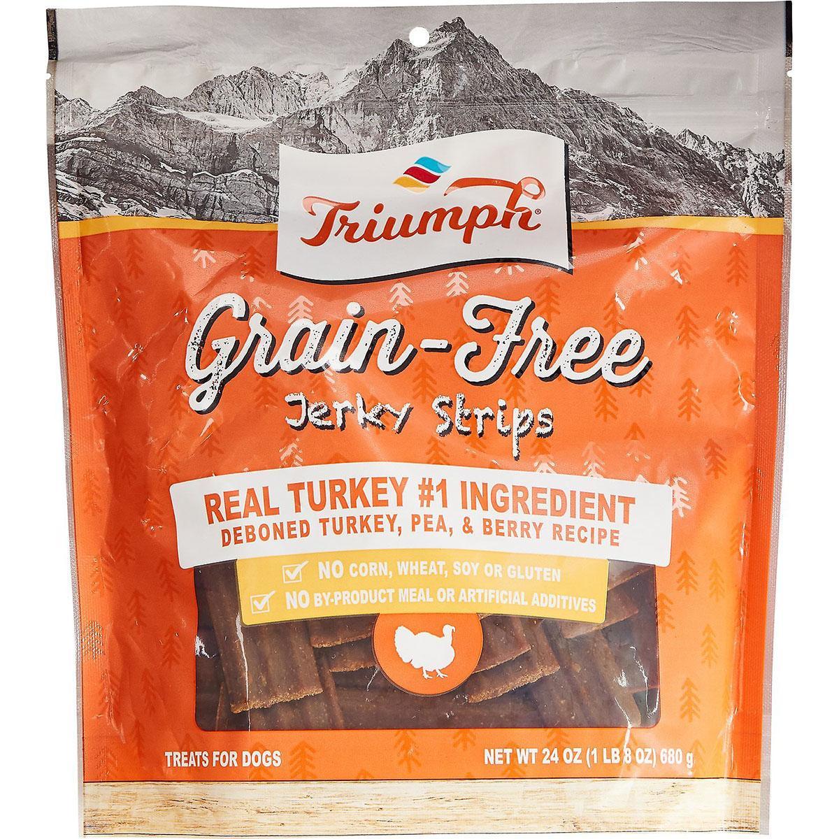 Triumph Pet Grain-Free Jerky Strips Dog Treat - Deboned Turkey, Pea & Berry Recipe