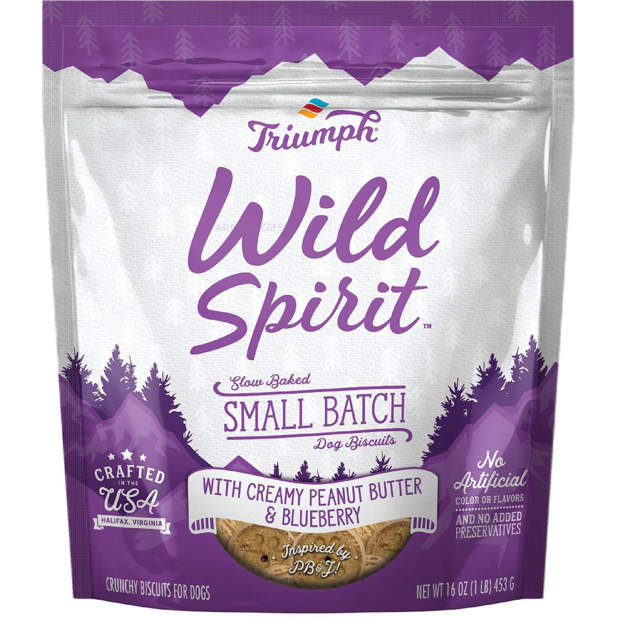 Triumph Pet Wild Spirit Small Batch Slow-Baked Biscuits Dog Treat - Creamy Peanut Butter & Blueberry Recipe