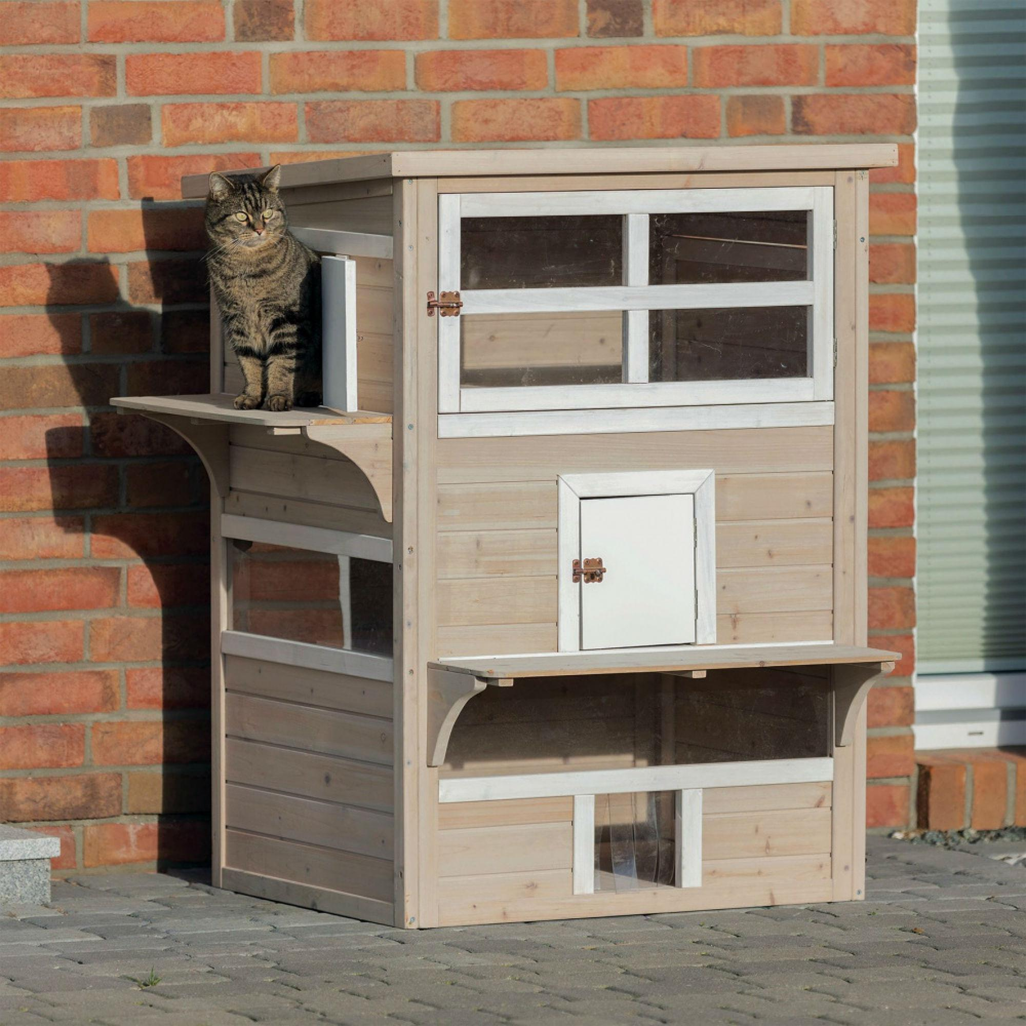 Trixie 3-Story Wooden Cat House With Basking Platform