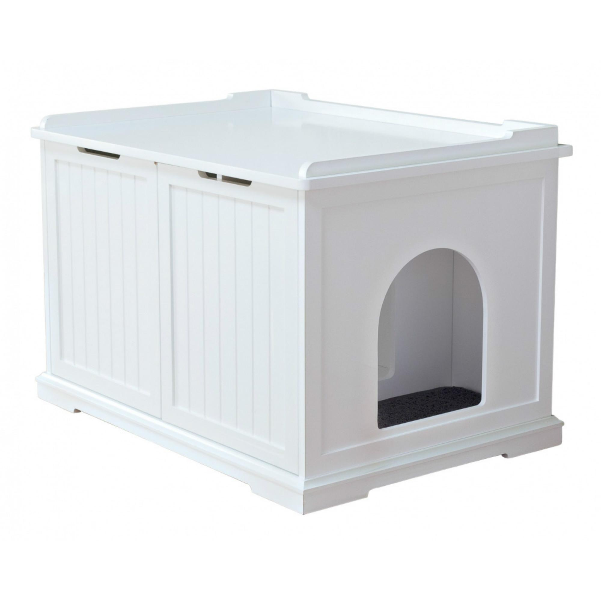 Trixie XL Wooden Cat House & Litter Box - White