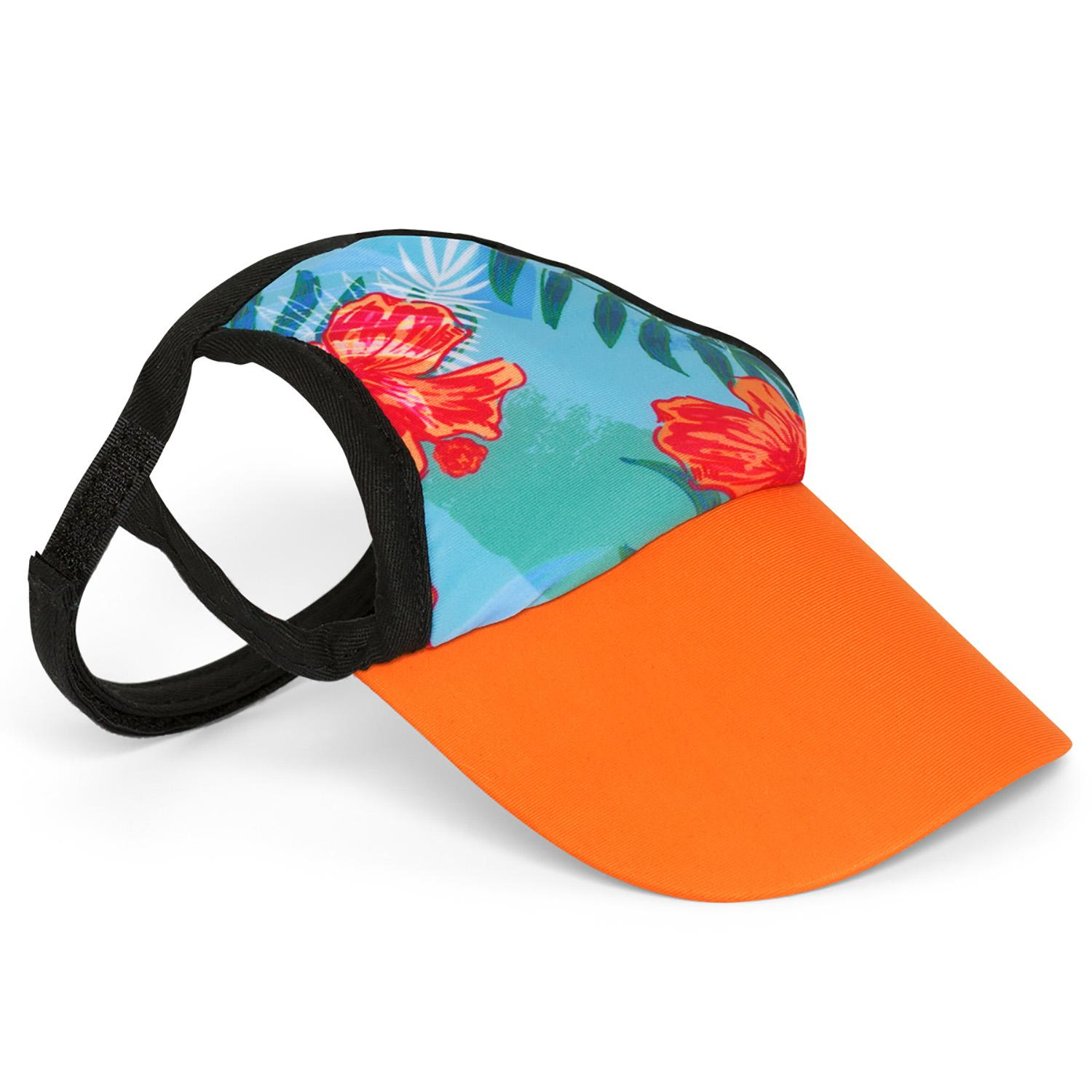 Tropical Floral Blue Dog Visor by Playa Pup