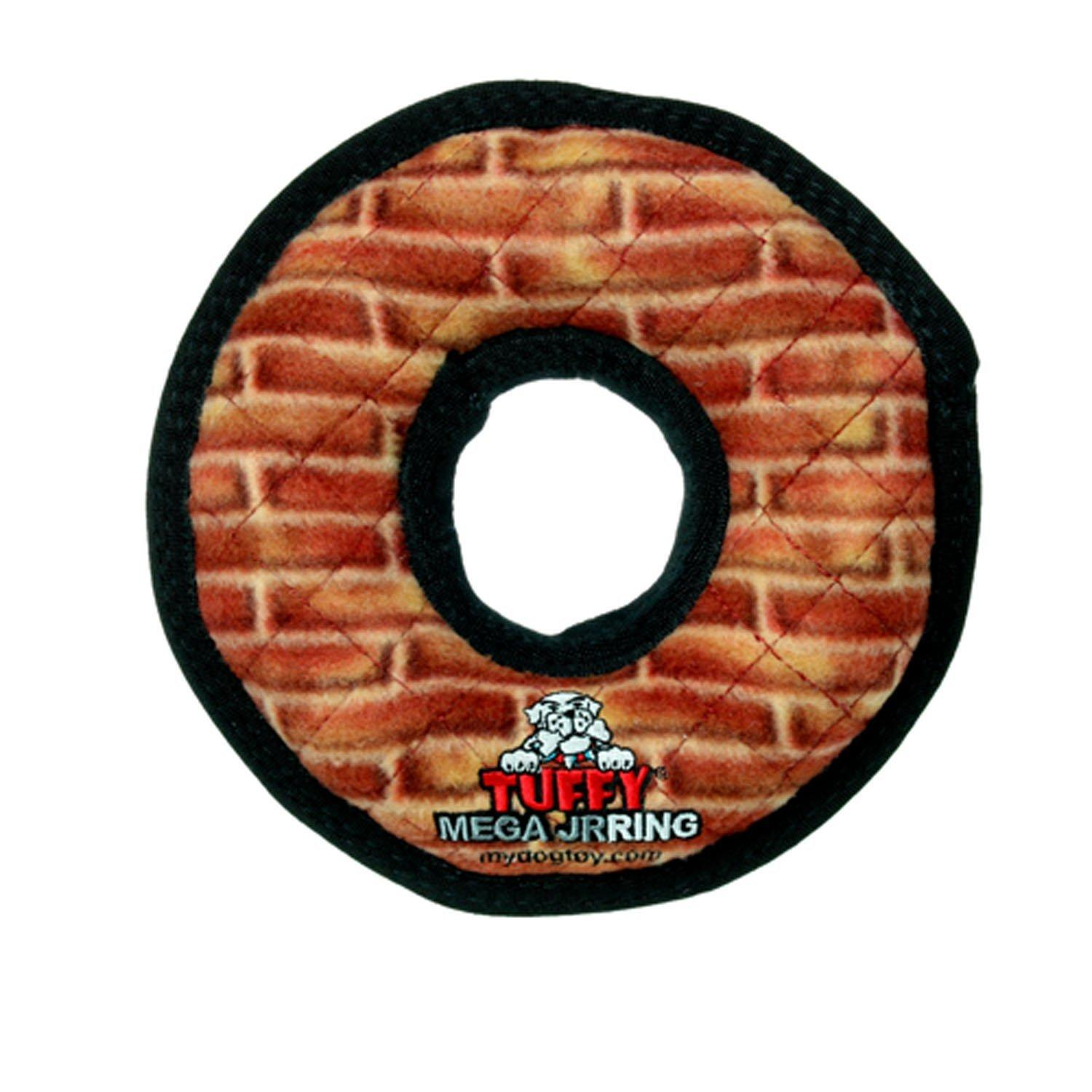 Tuffy Mega Ring Dog Toy - Brick Print