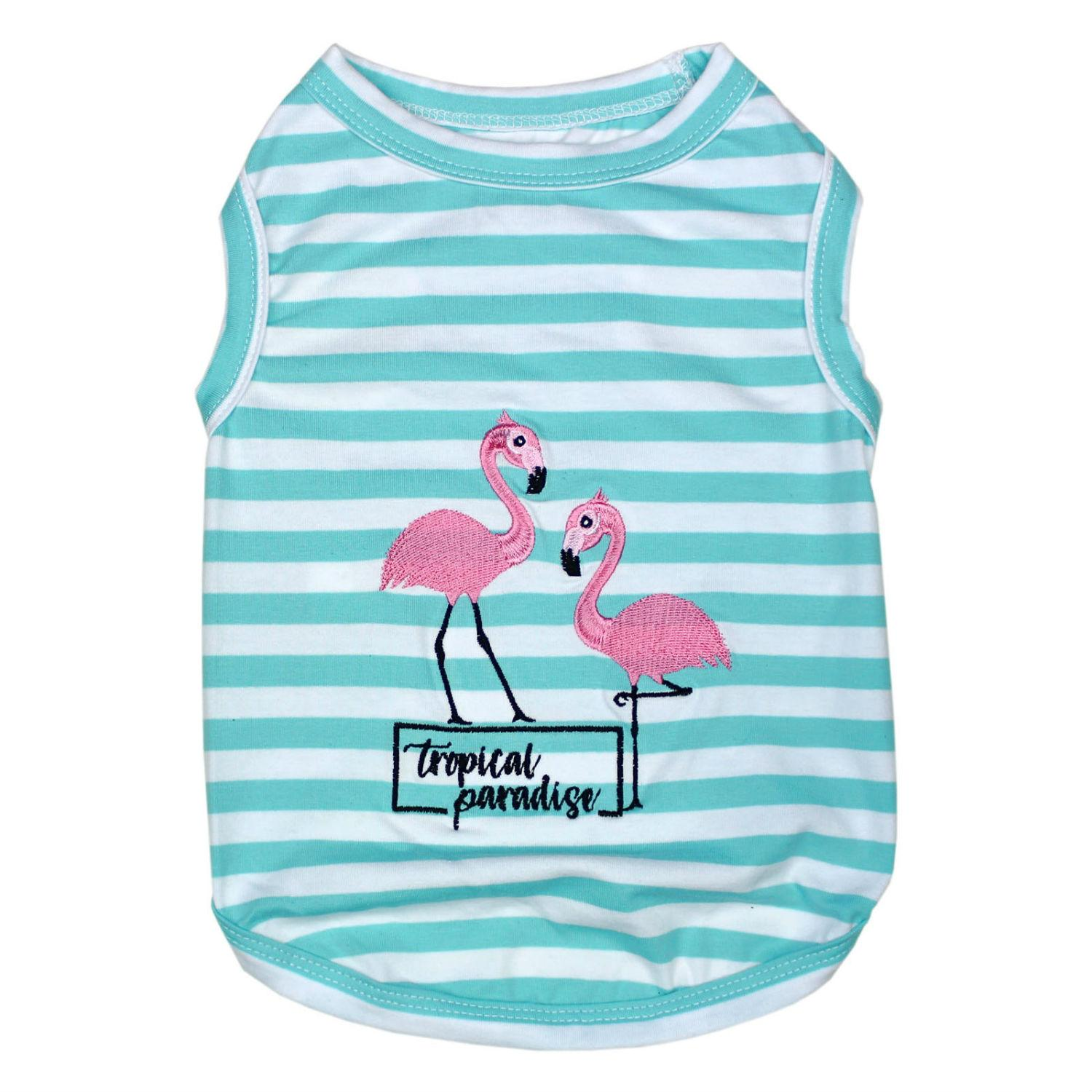 Flamingos Dog Tank by Parisian Pet - Blue