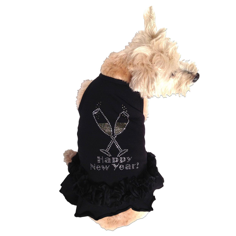 Toast the New Year Rhinestone Dog Dress by The Dog Squad