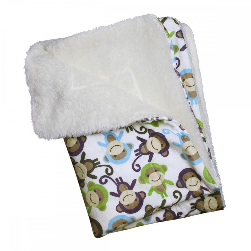 Ultra-Soft Minky Monkey Plush Dog Blanket by Klippo
