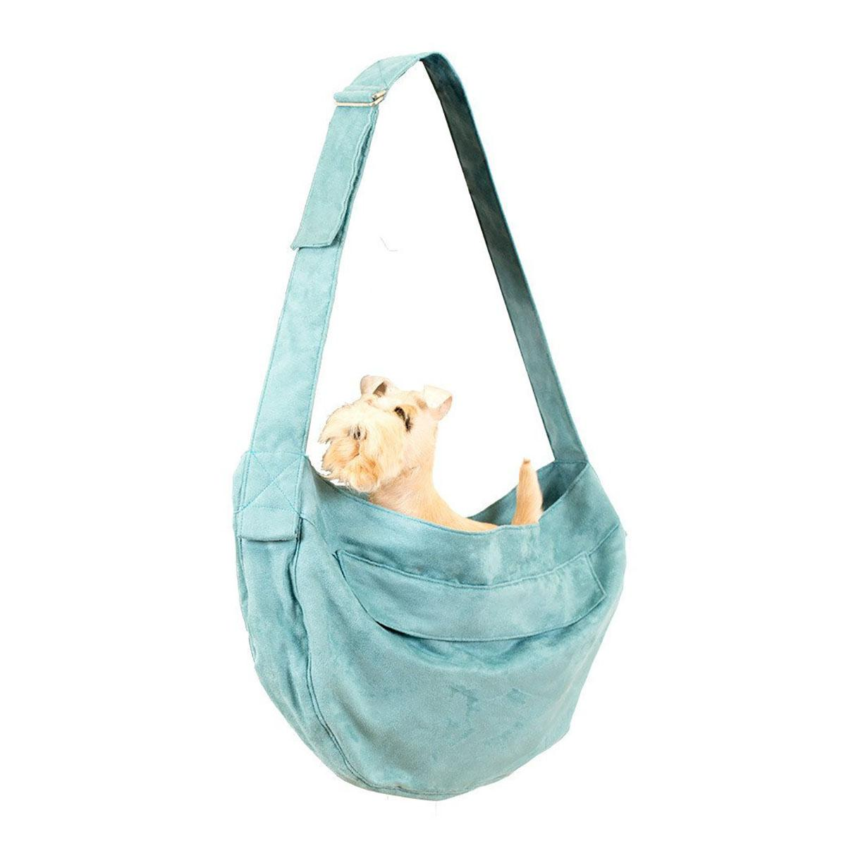 Ultrasuede Dog Cuddle Carrier by Susan Lanci - Bimini Blue